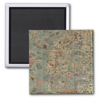 Historical Northern Europe Map 2 Inch Square Magnet