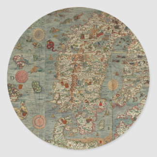 Historical Northern Europe Map Classic Round Sticker