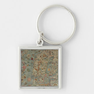 Historical Northern Europe Map Keychain