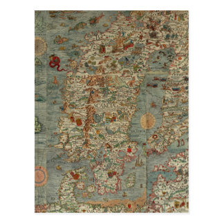 Historical Northern Europe Map Postcard