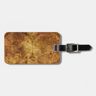 Historical Old Antique World Map Bag Tag