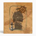 Historical Sailing Ship And Nautical Map 3 Ring Binder