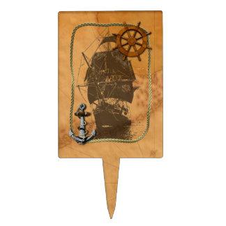 Historical Sailing Ship And Nautical Map Cake Picks