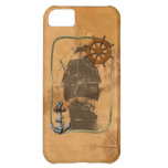 Historical Sailing Ship And Nautical Map Cover For iPhone 5C