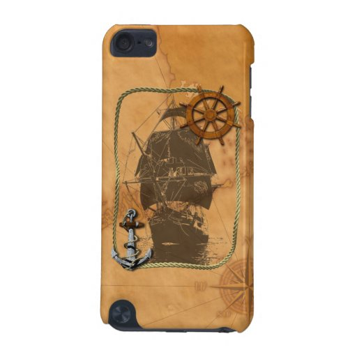 Historical Sailing Ship And Nautical Map iPod Touch (5th Generation) Cases