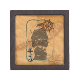 Historical Sailing Ship And Nautical Map Premium Gift Box
