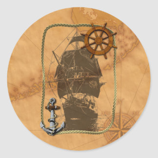 Historical Sailing Ship Classic Round Sticker