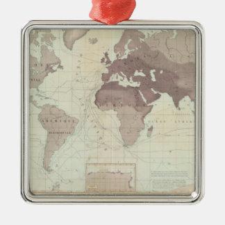 Historical World Map Metal Ornament