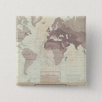 Historical World Map Pinback Button