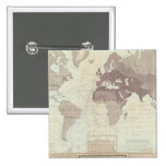 Historical World Map Pinback Button