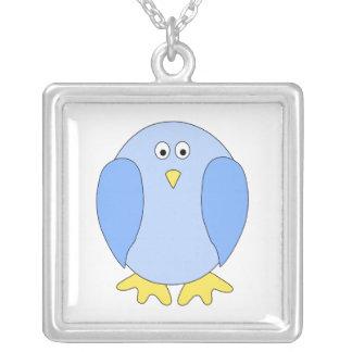 Historieta azul clara linda del pájaro colgante cuadrado