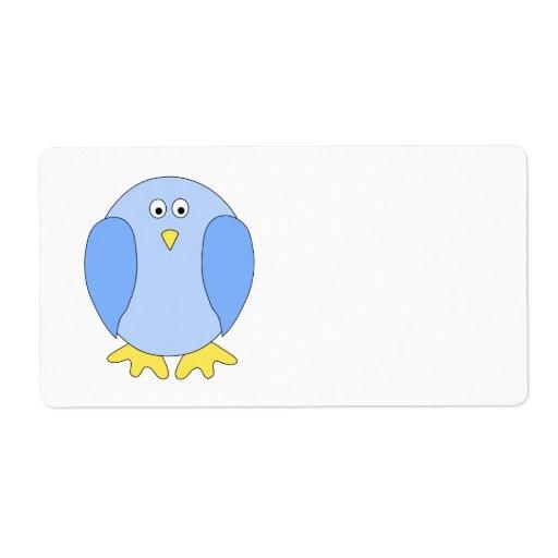 Historieta azul clara linda del pájaro etiqueta de envío