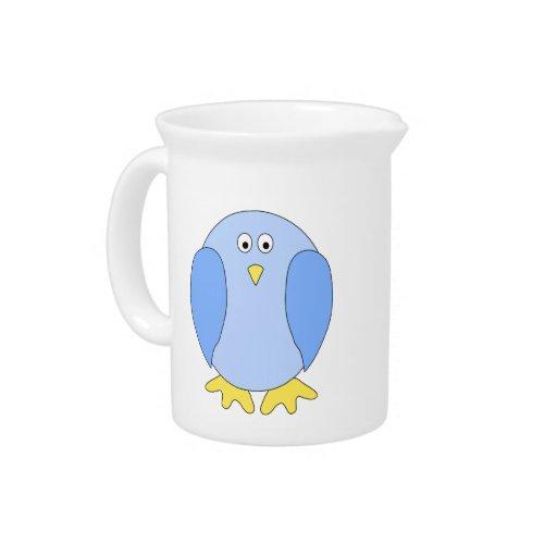 Historieta azul clara linda del pájaro jarrones