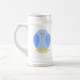 Historieta azul clara linda del pájaro tazas