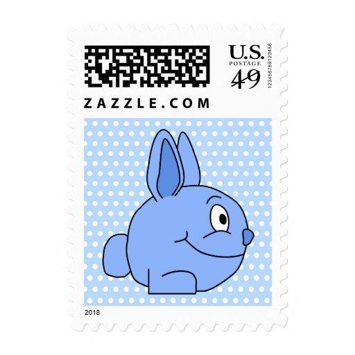 Historieta azul divertida del conejo franqueo