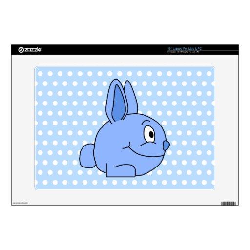 Historieta azul divertida del conejo portátil calcomanías