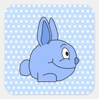 Historieta azul divertida del conejo pegatina cuadradas