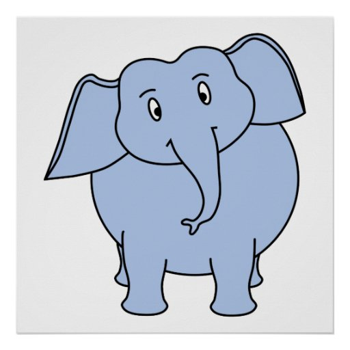 Historieta azul linda del elefante póster