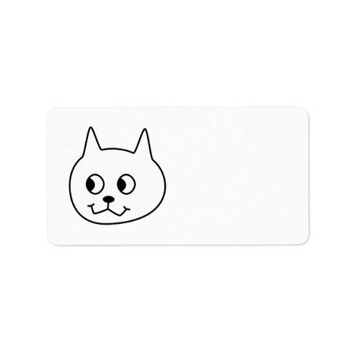 Historieta blanca del gato etiquetas de dirección