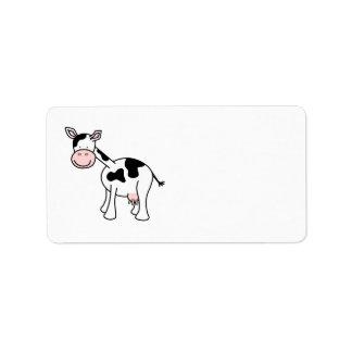 Historieta blanco y negro de la vaca etiquetas de dirección