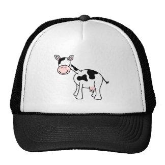 Historieta blanco y negro de la vaca gorras