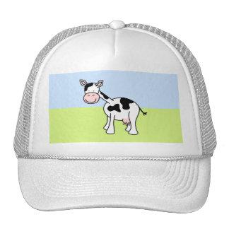 Historieta blanco y negro de la vaca gorras de camionero