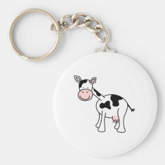 Historieta blanco y negro de la vaca llavero personalizado