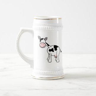 Historieta blanco y negro de la vaca taza de café
