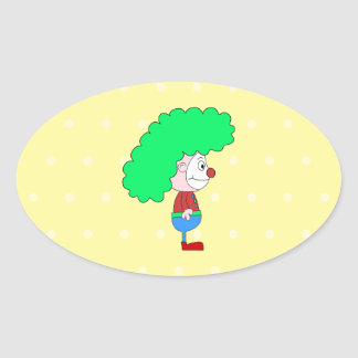 Historieta colorida del payaso pegatinas de oval personalizadas