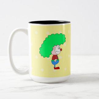 Historieta colorida del payaso taza de café