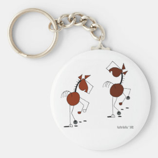 Historieta corriente del caballo llavero redondo tipo pin