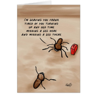 ¡Historieta de la araña le estoy dejando Frank! Tarjeta De Felicitación