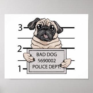 historieta del perro del mugshot póster