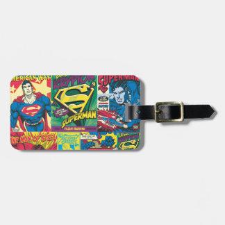 Historieta del superhombre etiqueta de maleta