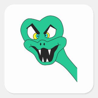 Historieta divertida de la serpiente calcomanías cuadradas personalizadas