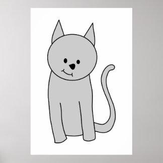 Historieta gris del gato poster