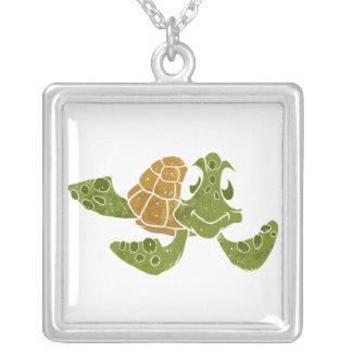 Historieta linda de la tortuga colgante cuadrado