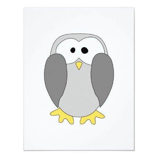 """Historieta linda del pingüino invitación 4.25"""" x 5.5"""""""
