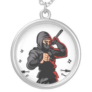 historieta negra del ninja colgante redondo