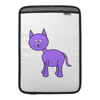 Historieta púrpura linda del gato fundas macbook air