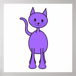 Historieta púrpura linda del gato póster