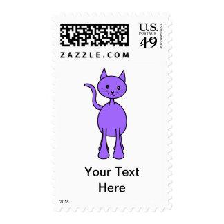 Historieta púrpura linda del gato sellos