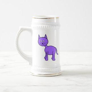 Historieta púrpura linda del gato tazas de café