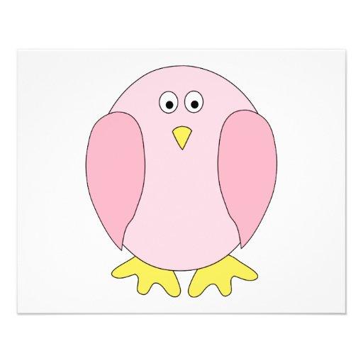 Historieta rosada bonita linda del pájaro tarjetas informativas