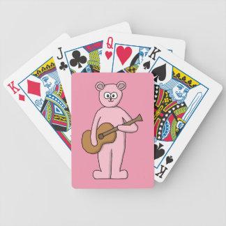 Historieta rosada del oso del guitarrista baraja cartas de poker