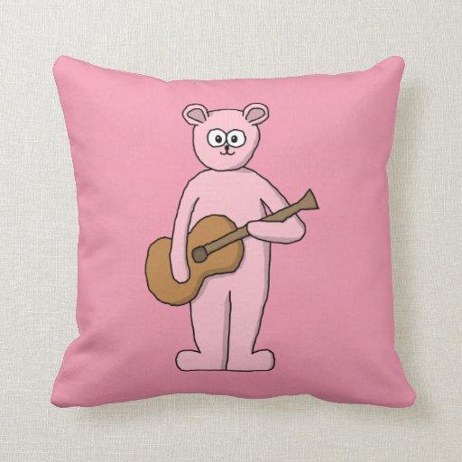 Historieta rosada del oso del guitarrista cojin