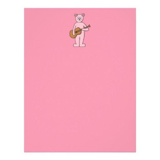 Historieta rosada del oso del guitarrista membretes personalizados
