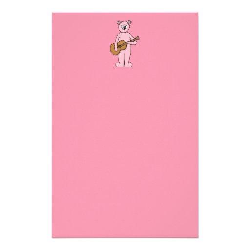Historieta rosada del oso del guitarrista papeleria