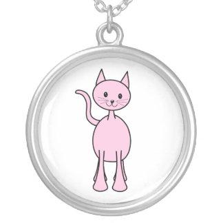 Historieta rosada linda del gato colgante redondo