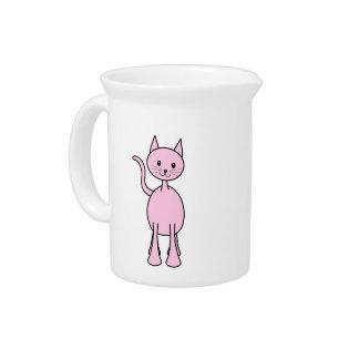 Historieta rosada linda del gato jarras